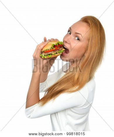 Woman Eating Tasty Unhealthy Burger Cheeseburger Sandwich In Hands Hungry