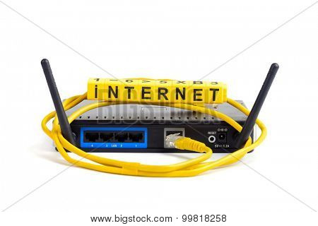 wireless wi-fi router with two antennas cable and sign isolated