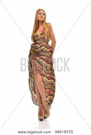 Young Beautiful Caucasian Redhair Woman In Gorgeous Dress
