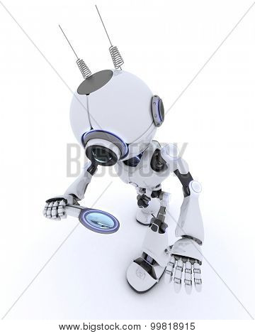 3D render of a Robot with magnifying glass