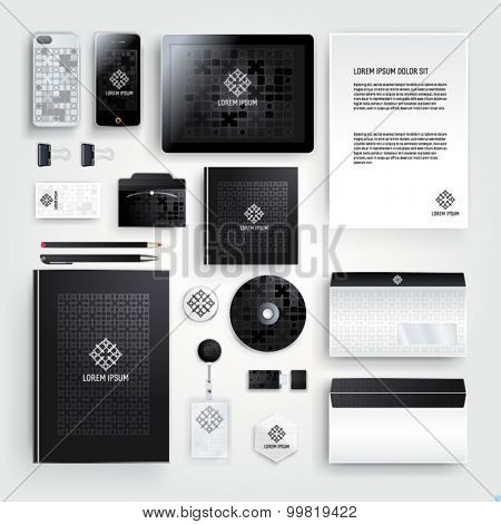 Elegant corporate identity template design with geometry pattern for your company. Cover layout.  Business stationery.
