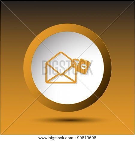 open mail with lock. Plastic button. Vector illustration.