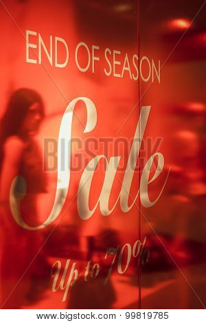 End Of Season Sale Signs at Department Store