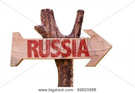 Russia wooden sign isolated on white background