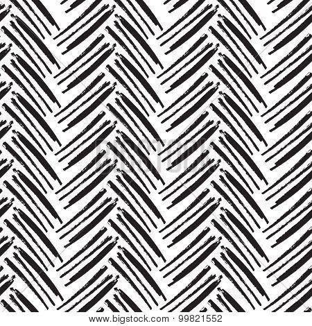 Herringbone Seamless Pattern. Monochrome vector pattern. Painted by Brush.