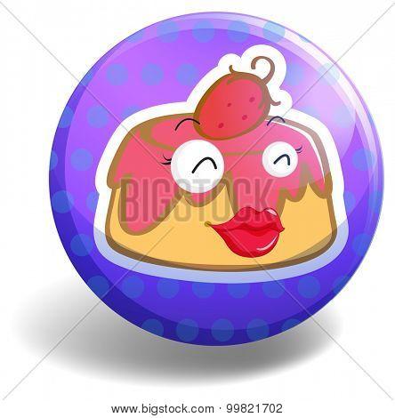 Pudding on round badge illustration