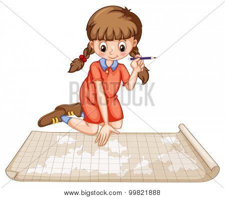 Girl plotting on map illustration