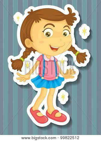 Little girl in new dress illustration