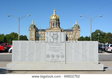 DES MOINES, IOWA - AUGUST 19, 2015: WWII Monument in front of the State Capitol Building, Des Moines, Iowa. The memorial was dedicated in 1991 by Iowa's Pearl Harbor Survivors.