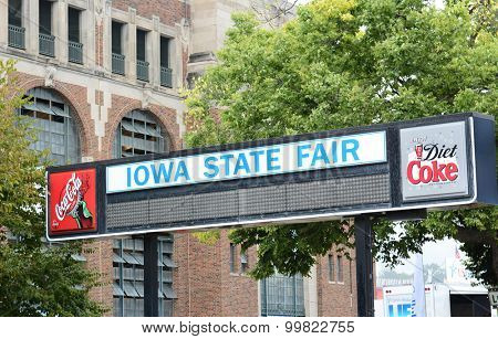 DES MOINES, IOWA - AUGUST 19, 2015: Iowa State Fair sign. The annual event covering over 450 acres is one of the largest state fairs in the country.