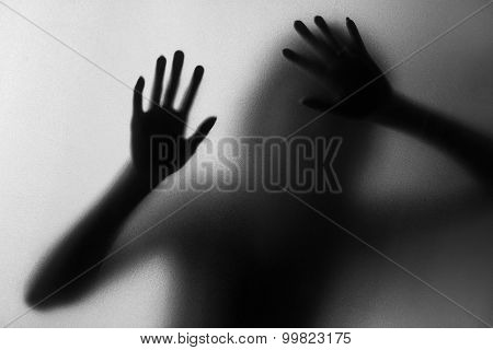 silhouette of action of woman scream, conceptual idea