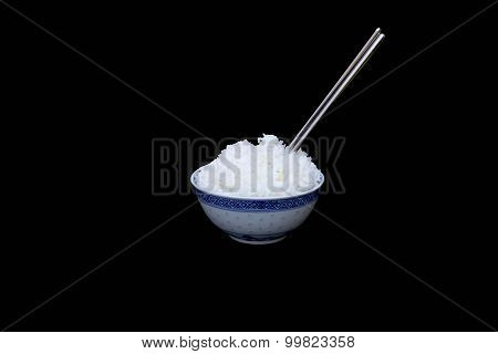 Bowl Of Boiled Rice With Silver Chopsticks Isolated