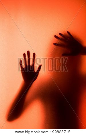silhouette of action of a woman scream