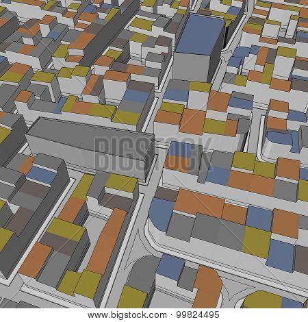 Cartoon Town Bird Eye View Urban Background