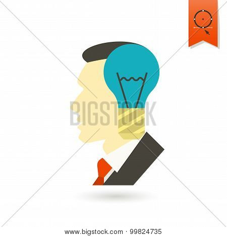 Silhouette of Man with Light Bulb, Idea Concept