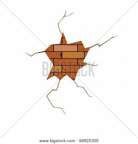 vector, crack, brick wall