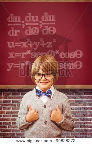 Cute pupil dressed up as teacher against red background