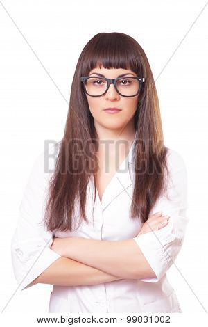 Woman  In A White Lab Coat And Glasses