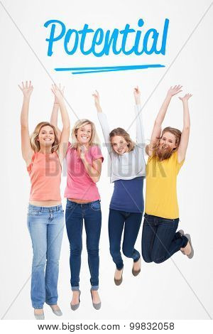 The word potential and smiling celebrating girls jumping up against white background with vignette