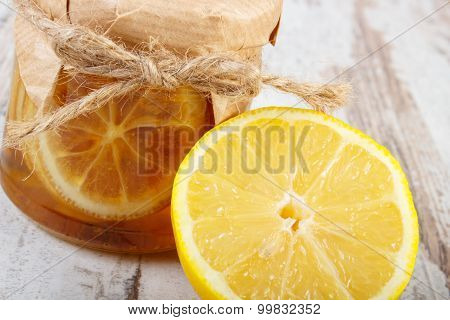 Fresh Lemon And Honey On Wooden Table, Healthy Food And Nutrition