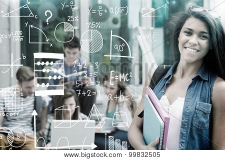 Maths against pretty student smiling at camera outside