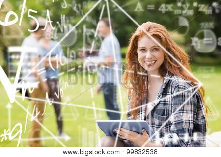 Maths equation against pretty student studying outside on campus