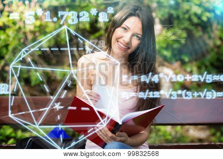 geometry problem against pretty student studying outside on campus