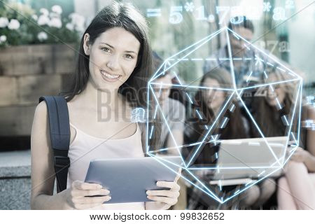 geometry problem against pretty student using her tablet pc on campus