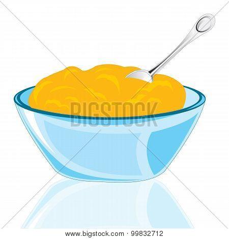 Plate with porridge