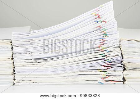 Stack Of Sales And Receipt Overload Between Paperwork