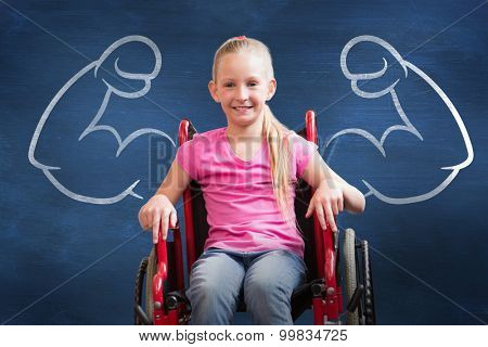 Cute disabled pupil smiling at camera in hall against blue chalkboard
