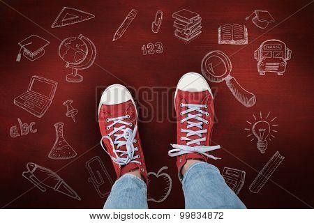 Casual shoes against desk