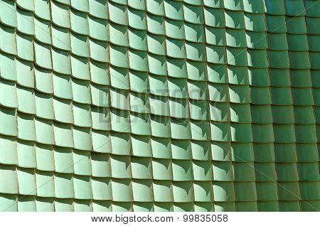 Traditional Chinese Green Glazed Tile, Curve Wall