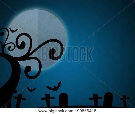 Full Moon Blue Night In Halloween Day At Graveyard.