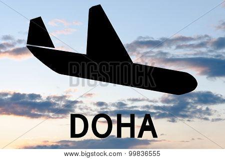 Airplane landing at Airport of Doha