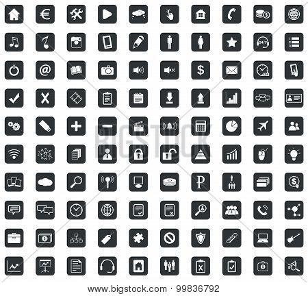 100 Webdesign icons set, square, black