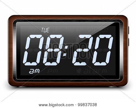 Digital Alarm Clock In Wooden Case. Vector