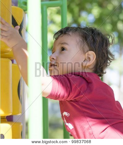 Boy 2 Years Playing In The Playground
