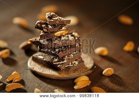 Dark brown chocolate and almonds with badam