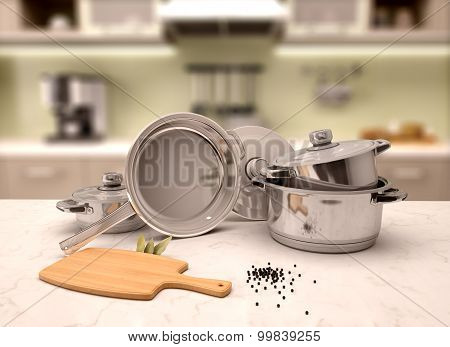 3D Illustration Of  Pans On The Table With A Blurred Background