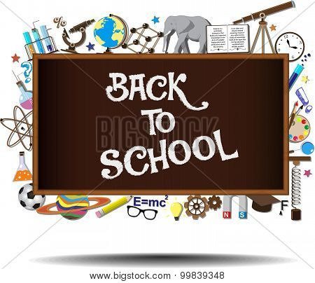 Back to School chalkboard with science symbols and design elements on background. Vector illustratio