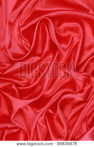 Red Silk Cloth Of Wavy Abstract Background