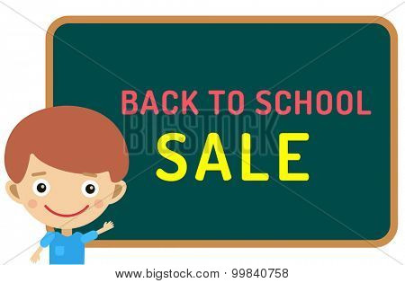 Cute vector cartoon boy staying near classroom board. Back to school background.  School uniform, university, board and chalk, education, school kids, teens, people silhouette. Welcome to school