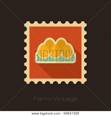 Chicken Eggs In A Tray Retro Flat Stamp
