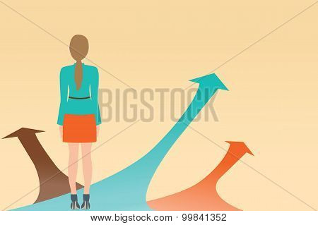 Business Woman Standing On The Arrow With Many Directions Ways,choices Concept.