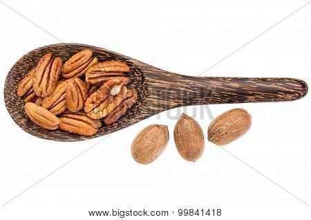 pecan nuts - shelled pecans on a wooden shell with three nuts in shells