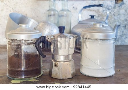 Old Coffeepot And Cans