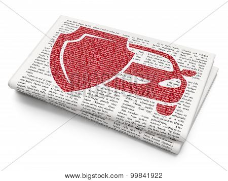 Insurance concept: Car Insurance on Newspaper background