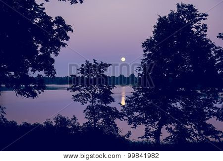 Night Landscape Of Moon And Lake