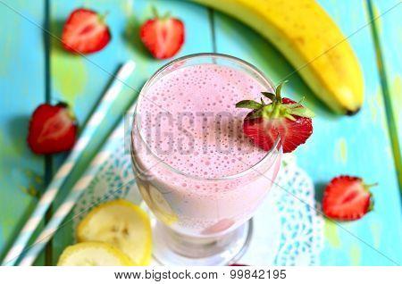Strawberry And Banana Smoothie.